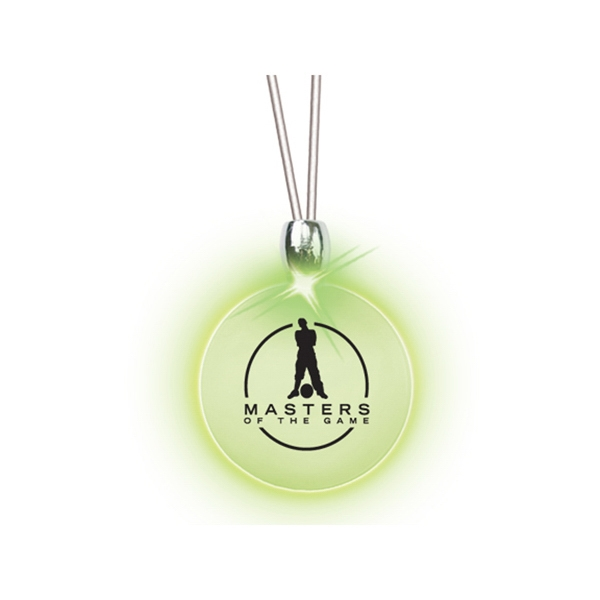 Round/green Led - Frosted Glow Pendant. Constant Glow. Magnetic Safety Clasp Photo