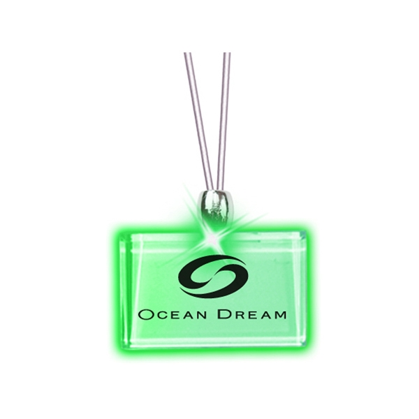 Rectangle/green Led - Frosted Glow Pendant. Constant Glow. Magnetic Safety Clasp Photo