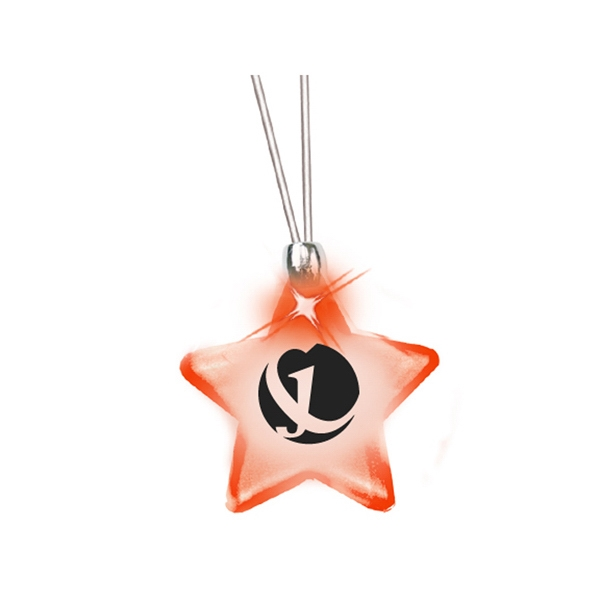 Star/red Led - Frosted Glow Pendant. Constant Glow. Magnetic Safety Clasp Photo