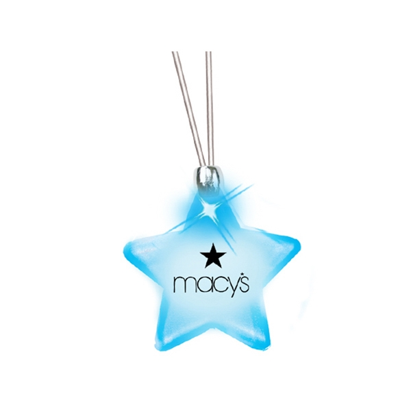Star/blue Led - Frosted Glow Pendant. Constant Glow. Magnetic Safety Clasp Photo