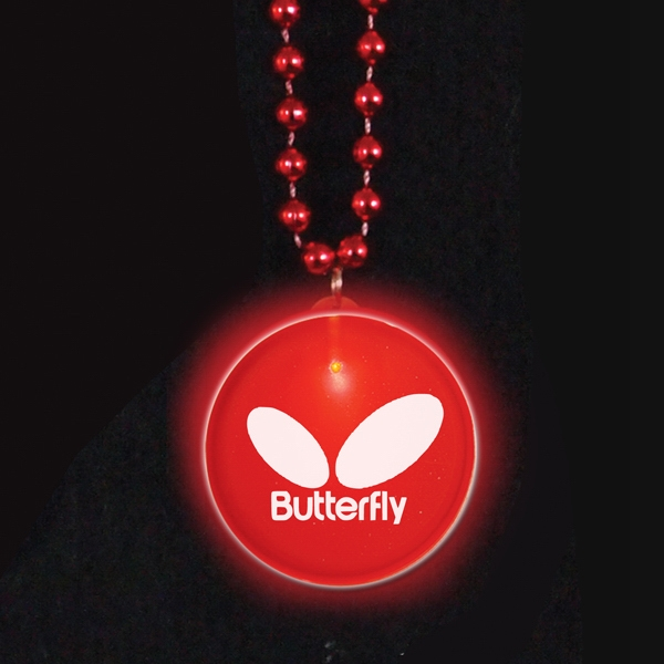 Red Led - Light Up Frosted Glow Medallion Beaded Necklace Photo