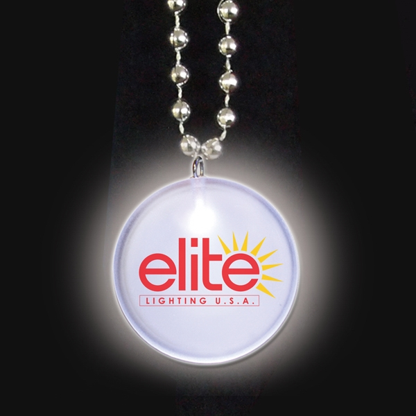White Led - Light Up Frosted Glow Medallion Beaded Necklace Photo