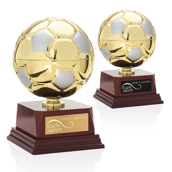 Scissor Kick Jaffa (r) Collection - Gold Metal Soccer Ball Trophy Photo