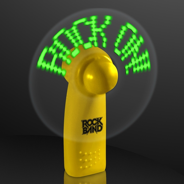 Yellow Preprogrammed Message Fans with Green LEDs