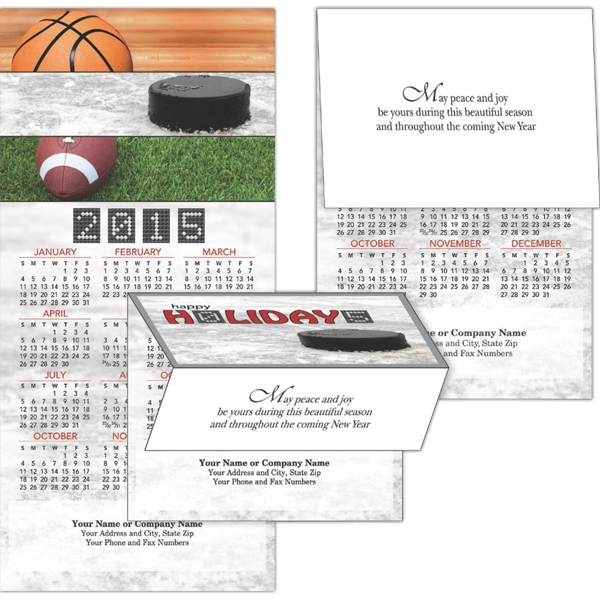 2-in-1 Outdoor Sports - Tri-fold Design 2-in-1 Greeting Card/calendar With 12 Month Calendar View Photo