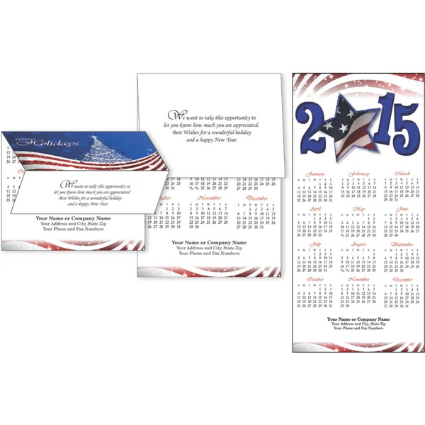 Patriotic Flag 2-in-1 - Tri-fold Greeting Card To Calendar With Choice Of 3 Verses Photo