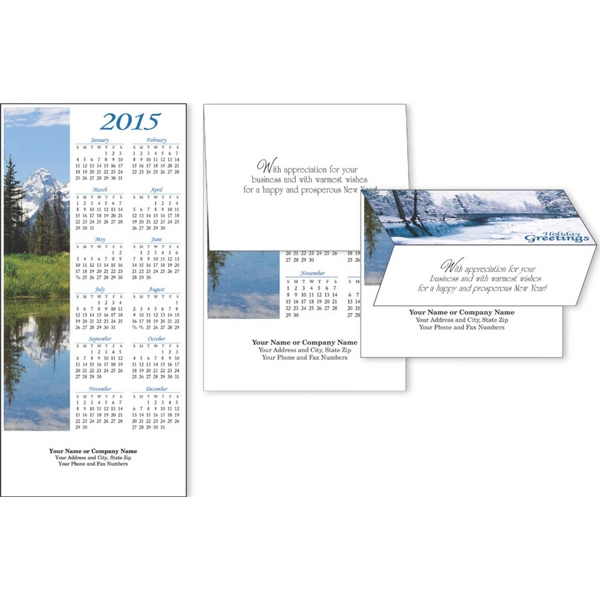 2-in-1 Scenic Views - Tri-fold Greeting Card To Calendar With Choice Of 3 Verses Photo