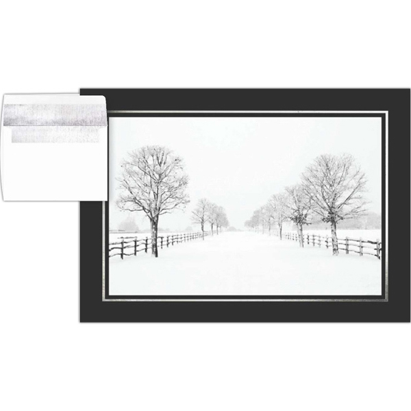 Greeting Card With A Full Color Peaceful Winter Scene On The Front Photo