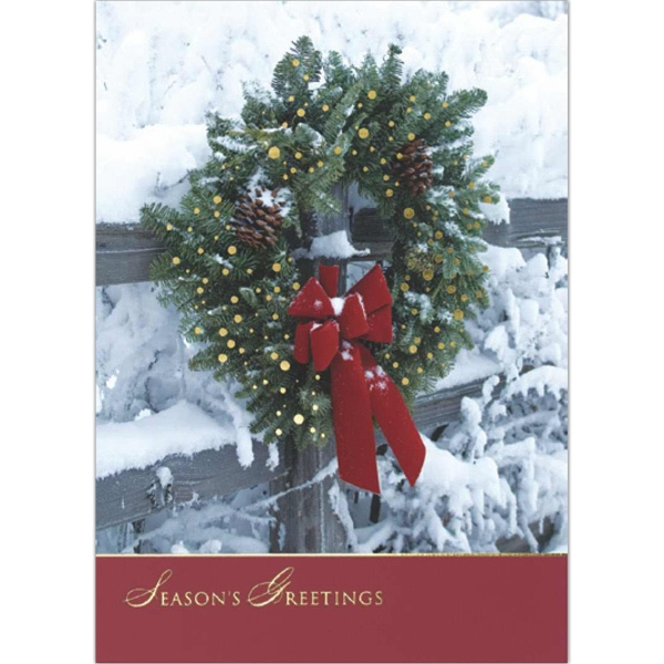 Greeting Card With An Outdoor Wreath On The Front Photo