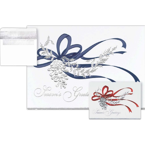 Deckled Edge, Greeting Card With Blue Ribbon On The Front Photo