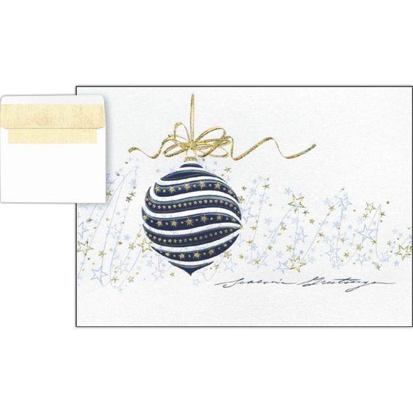 "Greeting Card With ""seasons Greetings"" And Blue Ornament On The Front Photo"