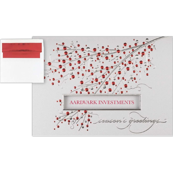 Greeting Card With A Shimmery Sprig In Red And Silver Foil Embossing On The Front Photo