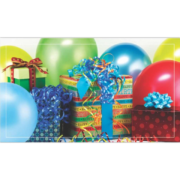 Birthday Greeting Card With Gifts And Balloon Design On The Front Photo