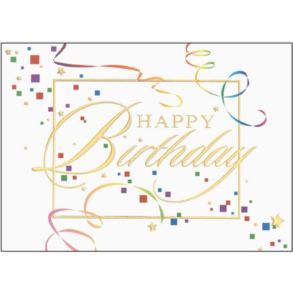 "Greeting Card With ""happy Birthday"" And Confetti Design On The Front Photo"