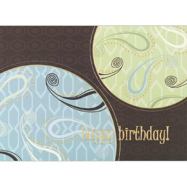 "Greeting Card With ""happy Birthday"" And Paisley Design On The Front Photo"