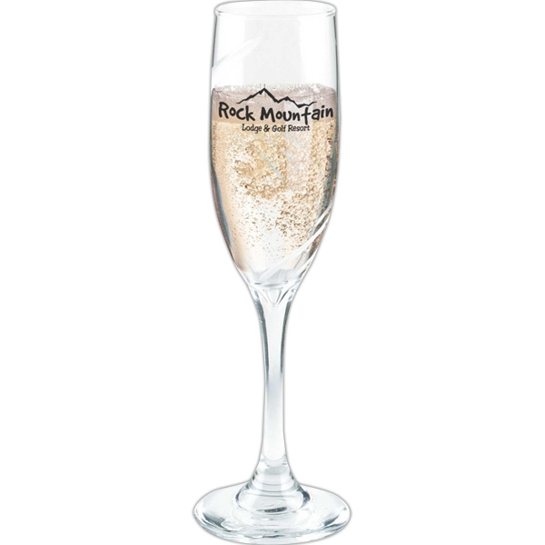 6 Oz. Champagne Flute With Etched Swirl Design Photo