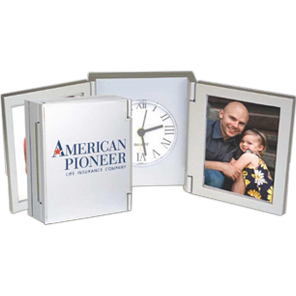 "Duo - Clock With Dual Photo Frames, Holds Two 2"" X 3"" Photos Photo"