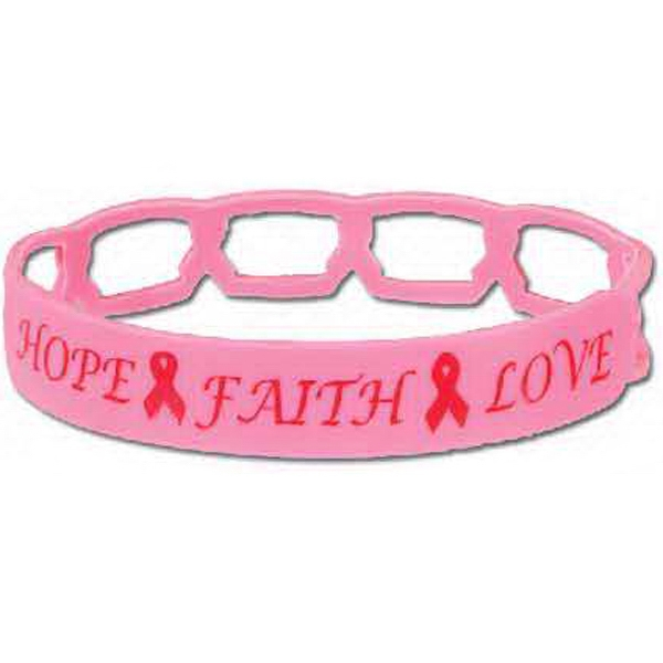 Stock Breast Cancer Awareness Silicone Link Bracelet Photo
