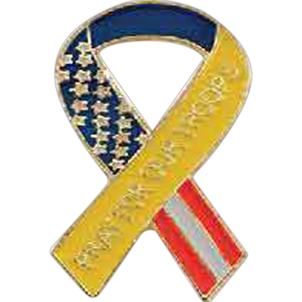 "Pray For Our Troops (yellow With Stars And Stripes) - 1"" Iron Stock Patriotic Ribbon Awareness Lapel Pin Photo"
