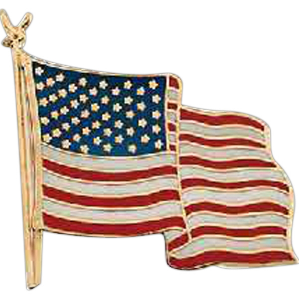 Stock Cloisonne American Flag Lapel Pin With Copper Material And Butterfly Clutch Photo