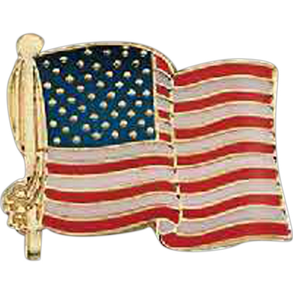 Stock Die Struck Iron American Flag Lapel Pin With Soft Enamel And Butterfly Clutch Photo