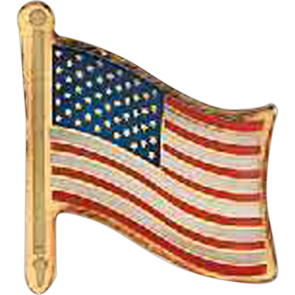 Stock American Flag Lapel Pin, Screen Printed On Brass Photo