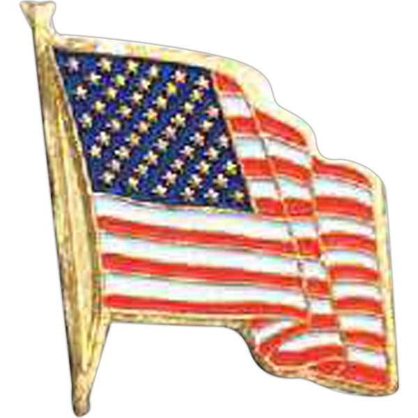Stock American Flag Lapel Pin With Butterfly Clutch And Brass Plating Photo