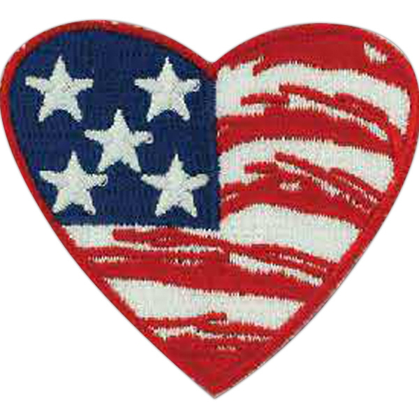 "Stock Heart Shaped American Flag Embroidered Patch, 2 1/2"" Photo"