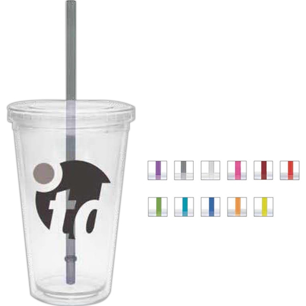 Clear - 16 Oz. Double Walled Tumbler With Clear Lid And Colored Straw Photo