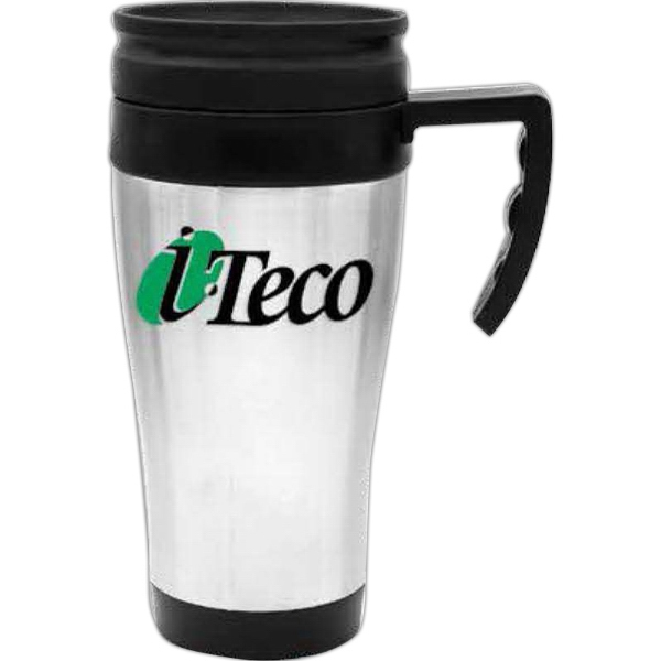 Stainless Steel 14 Oz Travel Mug With Black Plastic Liner Photo
