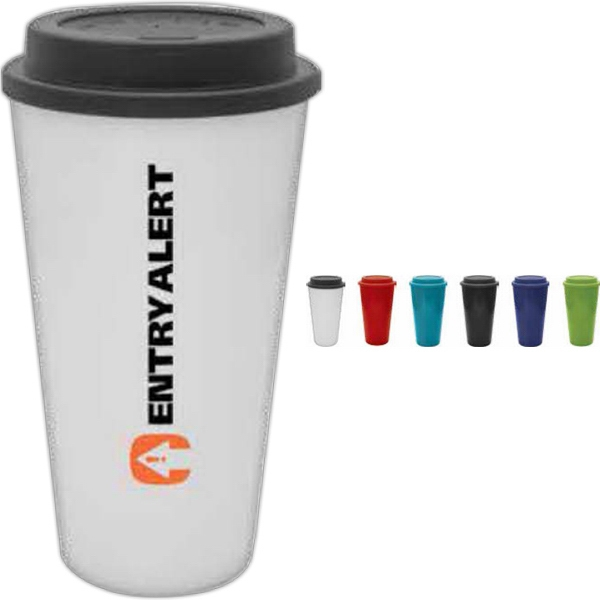 White - 16 Oz. Bpa Free Plastic Travel Cup With Twist On Lid Photo