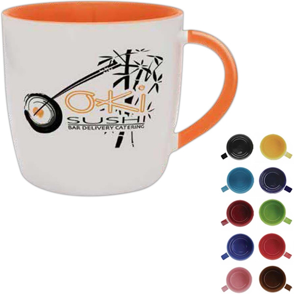 Brown Interior And Handle - 13 Oz White Exterior Ceramic Mug With Interior Color And Matching Color Handle Photo