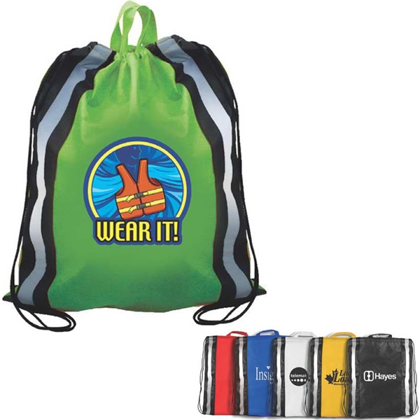 Non-woven Polypropylene Reflective Drawstring Backpack, Full Color Digital Photo