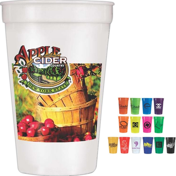 One Side Imprint - 17 Oz. Smooth Stadium Cup, Full Color Digital Photo