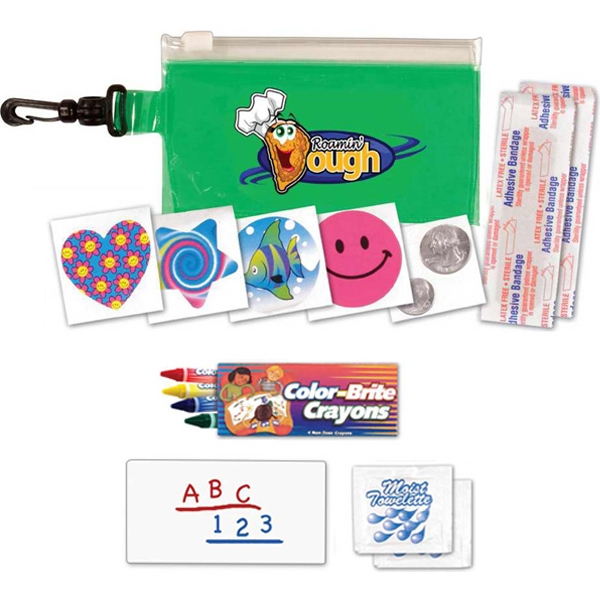 Clip 'n Go - Fun Kit With Bag, Crayons, Pad, Towelettes, Bandages And More, Full Color Digital Photo