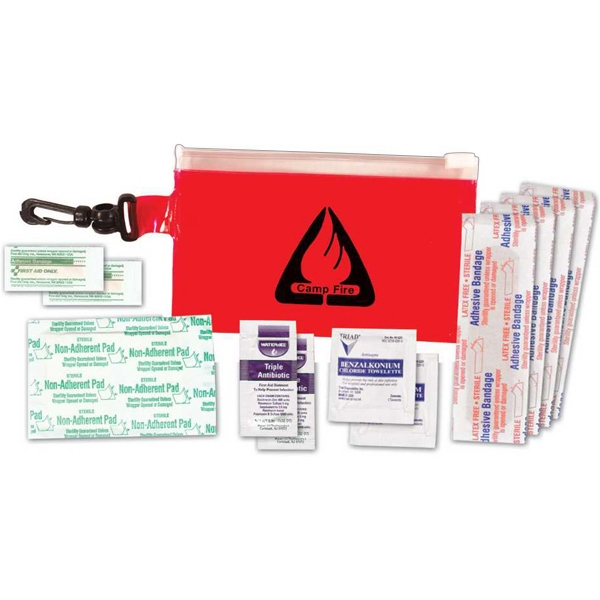 Clip 'n Go - First Aid Kit With Bag, Bandages, Towelettes And Ointment And Gauze Pad Photo