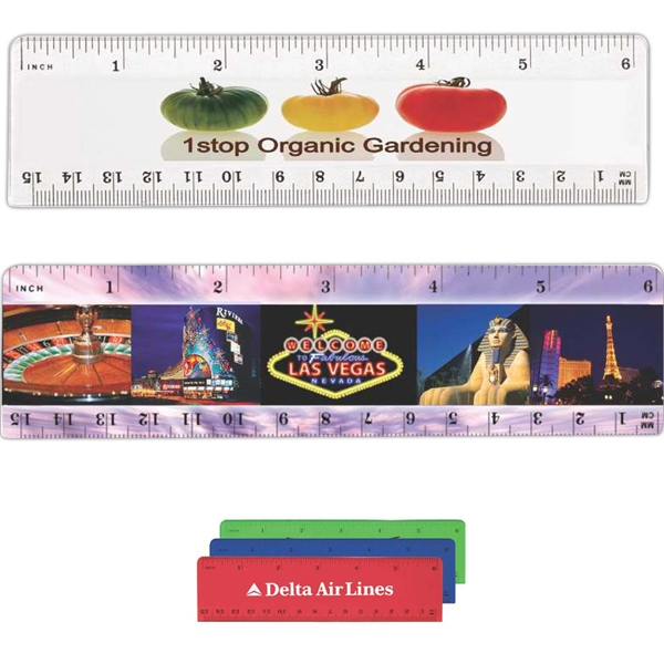"Plastic 6"" Ruler With Slight Bevel Design Photo"