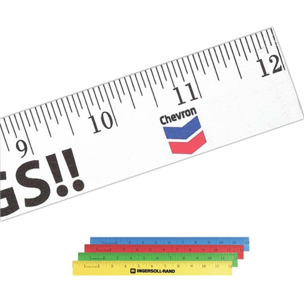 "Enamel Wood 12"" Ruler With English Scale Photo"