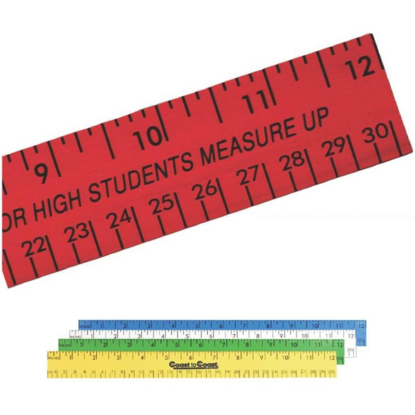 "Enamel Wood, 12"" Ruler With English And Metric Scale Photo"