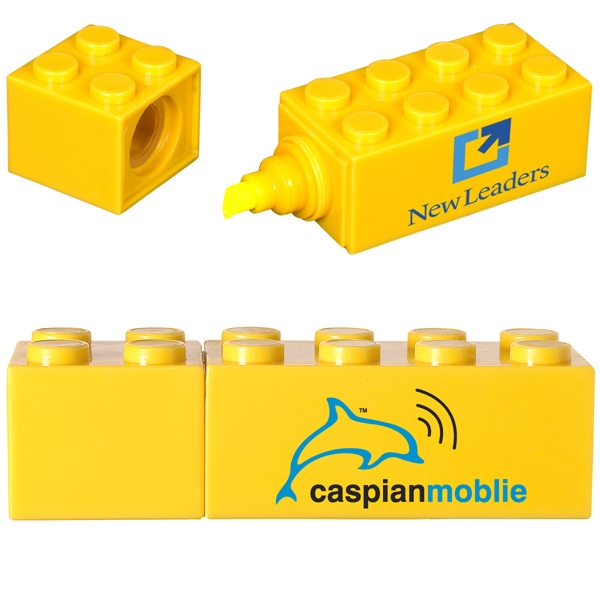 Logo-Blox (TM) Highlighter - ABS plastic cap off highlighter with yellow ink.