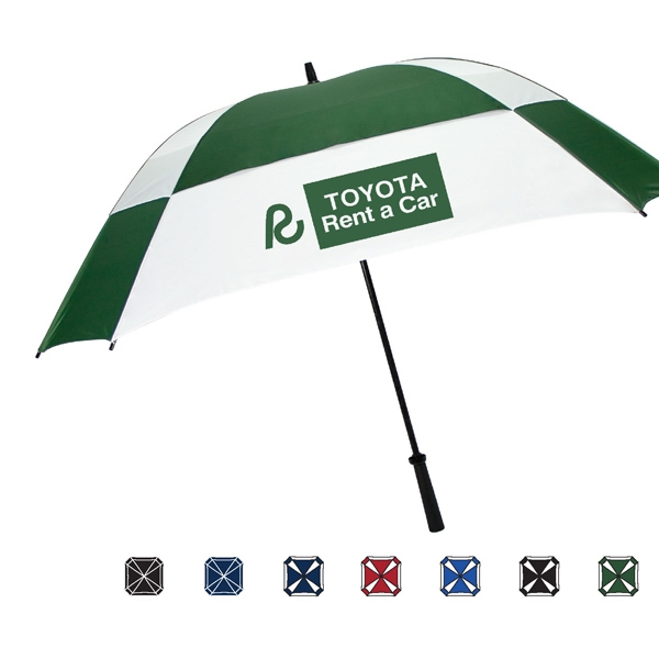 Manual Open Square Vented Canopy Umbrella With Pinch Proof Runner To Protect Fingers Photo