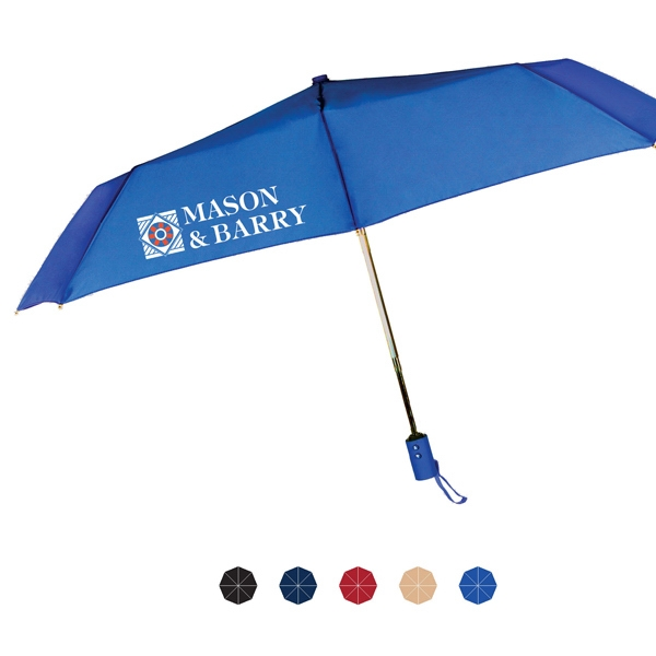 "Traveler Folding Umbrella With Auto Open & Close And Matching Sleeve; 43"" Arc Photo"