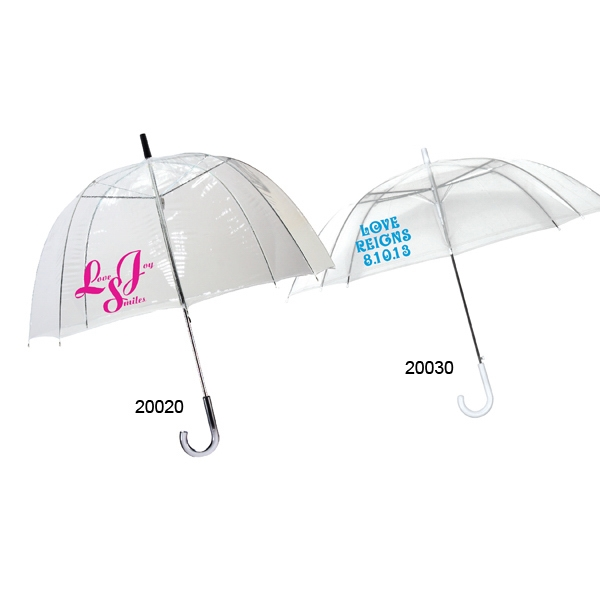 Bubble Collection Clear Automatic Open Umbrella With White Plastic Crook Handle Photo