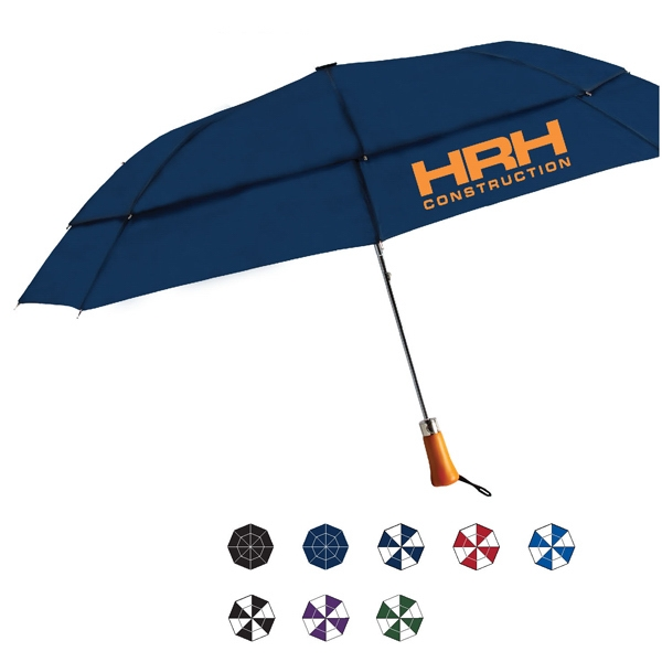 Ace Automatic Open Wind Resistant Umbrella With Nylon Fabric And Genuine Wood Handle Photo