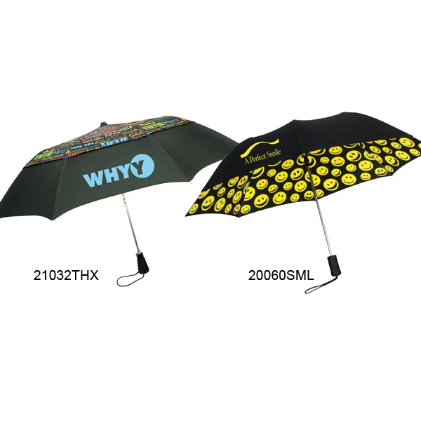 "Smiles Umbrella With Auto Open And Black Sleeve With ""smiles"" Pattern; 43"" Arc Photo"
