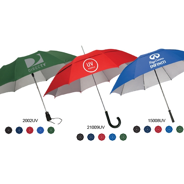 "Automatic Open Stick/fashion Umbrella With Protective Silver Uv Coating; 48"" Arc Photo"