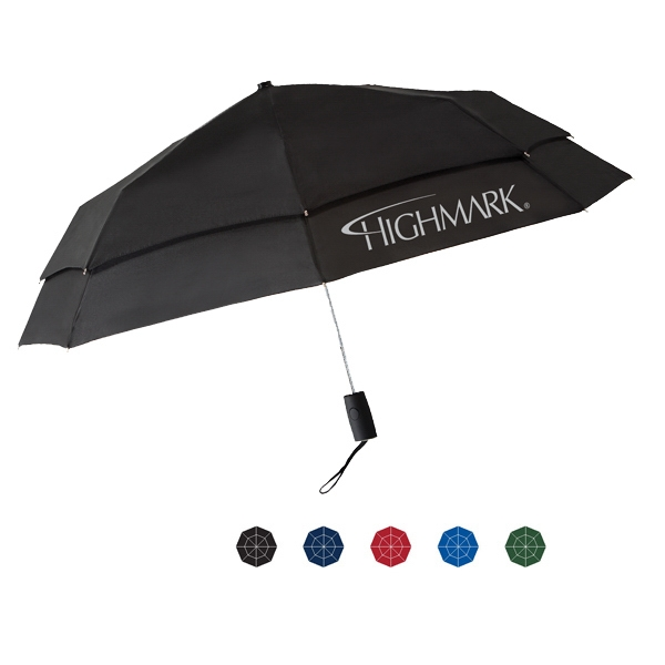 "Automatic Open & Close, Folding Umbrella With Matching Sleeve & Steel Frame; 43"" Arc Photo"
