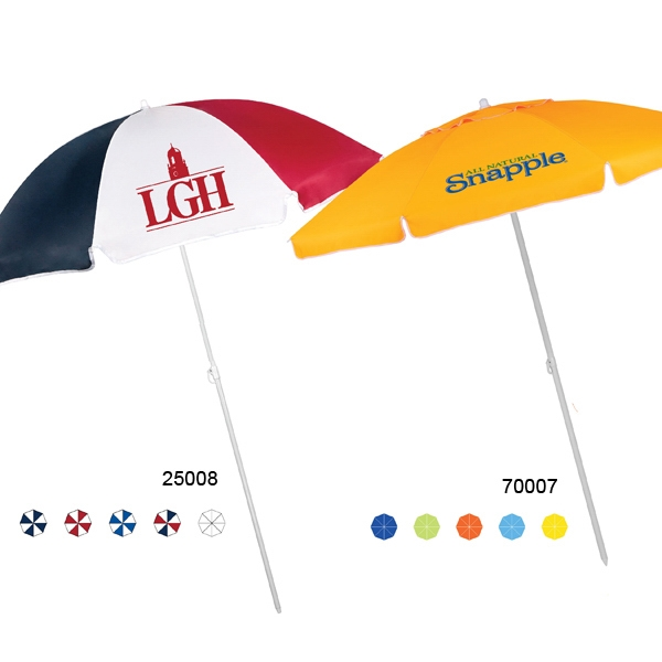 "Beach Umbrella Features Manual Open, Steel Frame, And Nylon Fabric; 72"" Arc Photo"