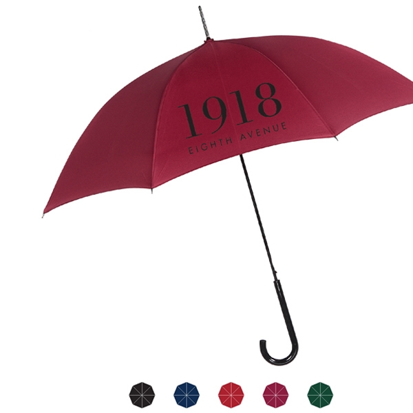 Economical Automatic Open Polyester Fabric Umbrella With Black Plastic Crook Handle Photo