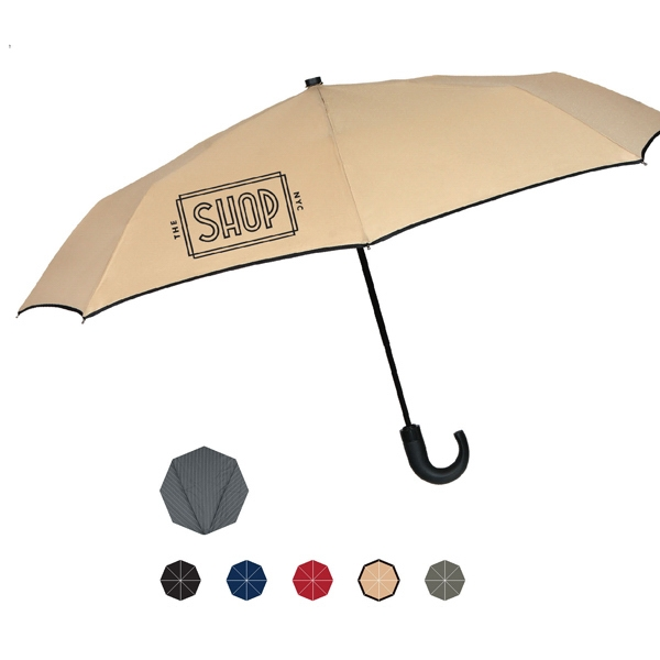 "Automatic Open And Close Umbrella With Traditional Black Wood Crook Handle; 43"" Arc Photo"